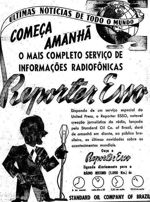 Propaganda antiga de lançamento do Repórter Esso em 1941