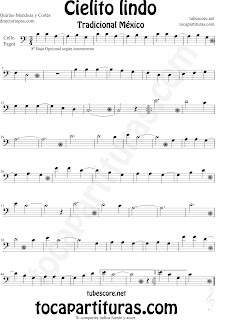 Partitura de Cielito Lindo de Chelo y Fagot en Clave de Fa Cielito Lindo Sheet Music for Cello and Bassoon Quirino Mendoza y Cortés Music Scores