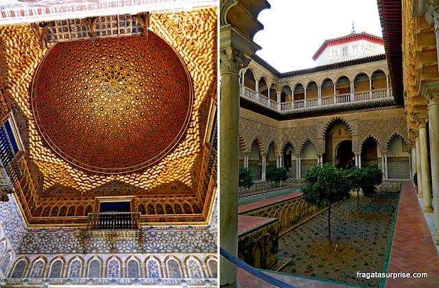 Cúpula dourada do Salão dos Embaixadores e o Pátio das Donzelas, no Real Alcázar de Sevilha