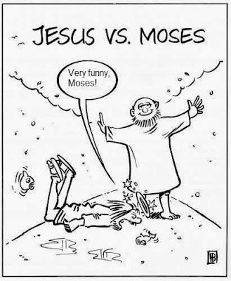 Funny Moses Cartoon Picture Jesus Christ vs Moses competition involving walking and parting water