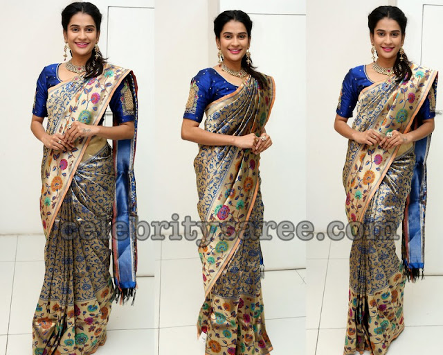 Jenny Honey Blue Benaras Saree