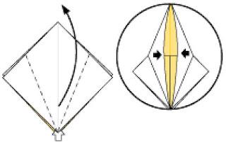 Bước 6: Từ vị trí mũi tên mở lớp giấy và kéo lên phía trên