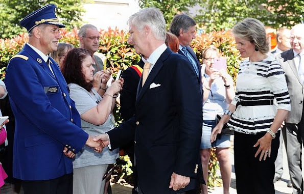 King Philippe and Queen Mathilde of Belgium visited the police station in the Charleroi city center.
