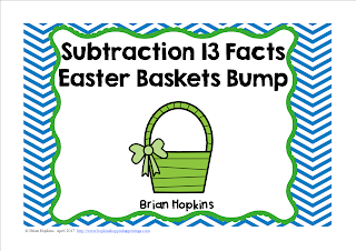 FREEBIE Easter Baskets Subtracting from 13 Bump