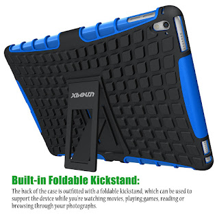 Roll over image to zoom in iPad Pro 9.7 Case, Xboun High Quality [TPU & PC] [Perfect Fit with Kickstand] Non-Slip Dual Layer Armor Defender Rugged Hybrid Protective Case Cover for iPad Pro 9.7 inch (2016 Version) (Blue)