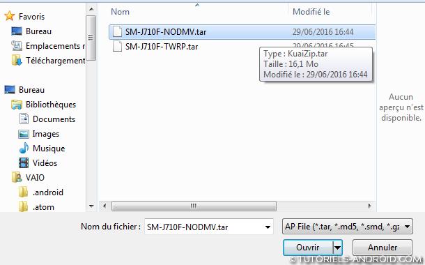 ROOT - J710F/FN : parcourir fichier .tar Odin3