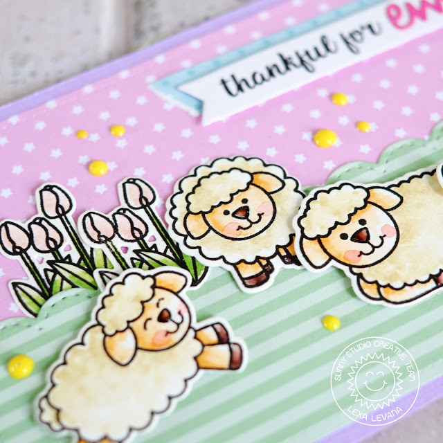 Sunny Studio Stamps: Missing Ewe Pastel Sheep Trio Thankful Card by Lexa Levana