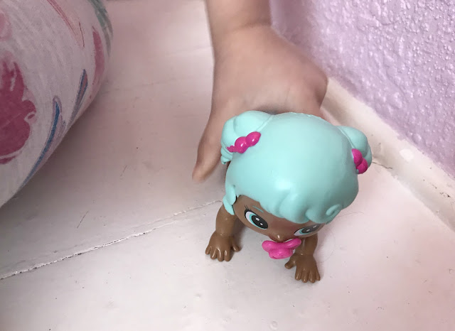 Bizzy Bubz crawling doll being played with