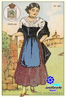 Traje típico de Huelva - Tipos regionales - Cromos primera mitad siglo XX
