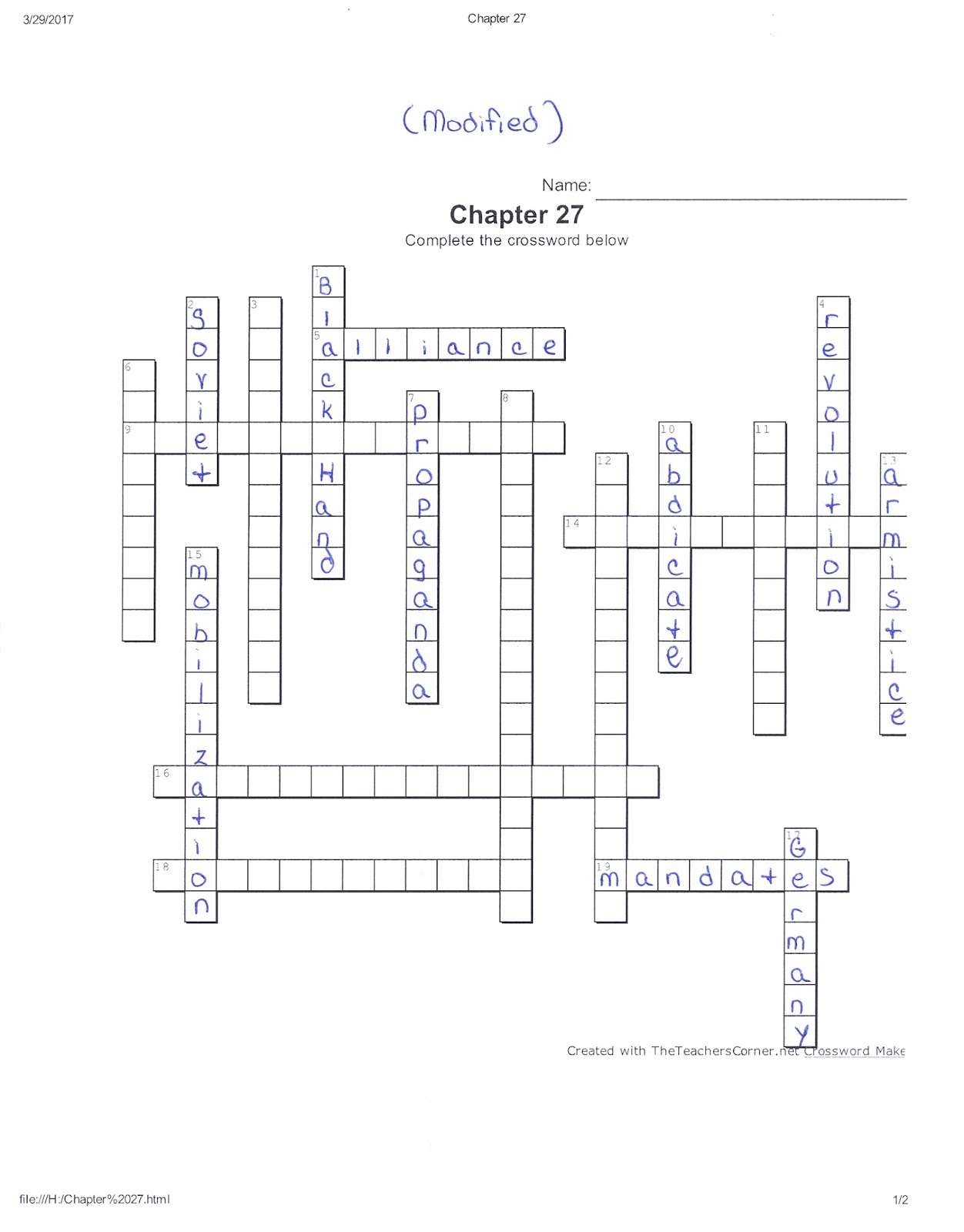 chapter 27 crossword key