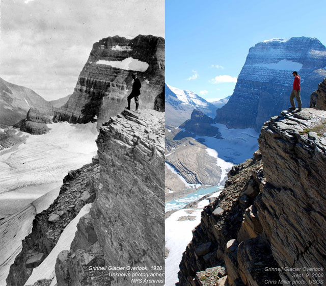 You Still Think Climate Change Is A Hoax These 20 Before-And-After Photos Will Leave You Speechless! - 1920 AND 2008 GRINNELL GLACIER OVERLOOK IN MONTANA.