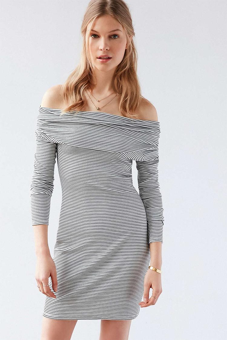5d88f1336c33 Silence + Noise Cozette Striped Off-The-Shoulder Mini Dress