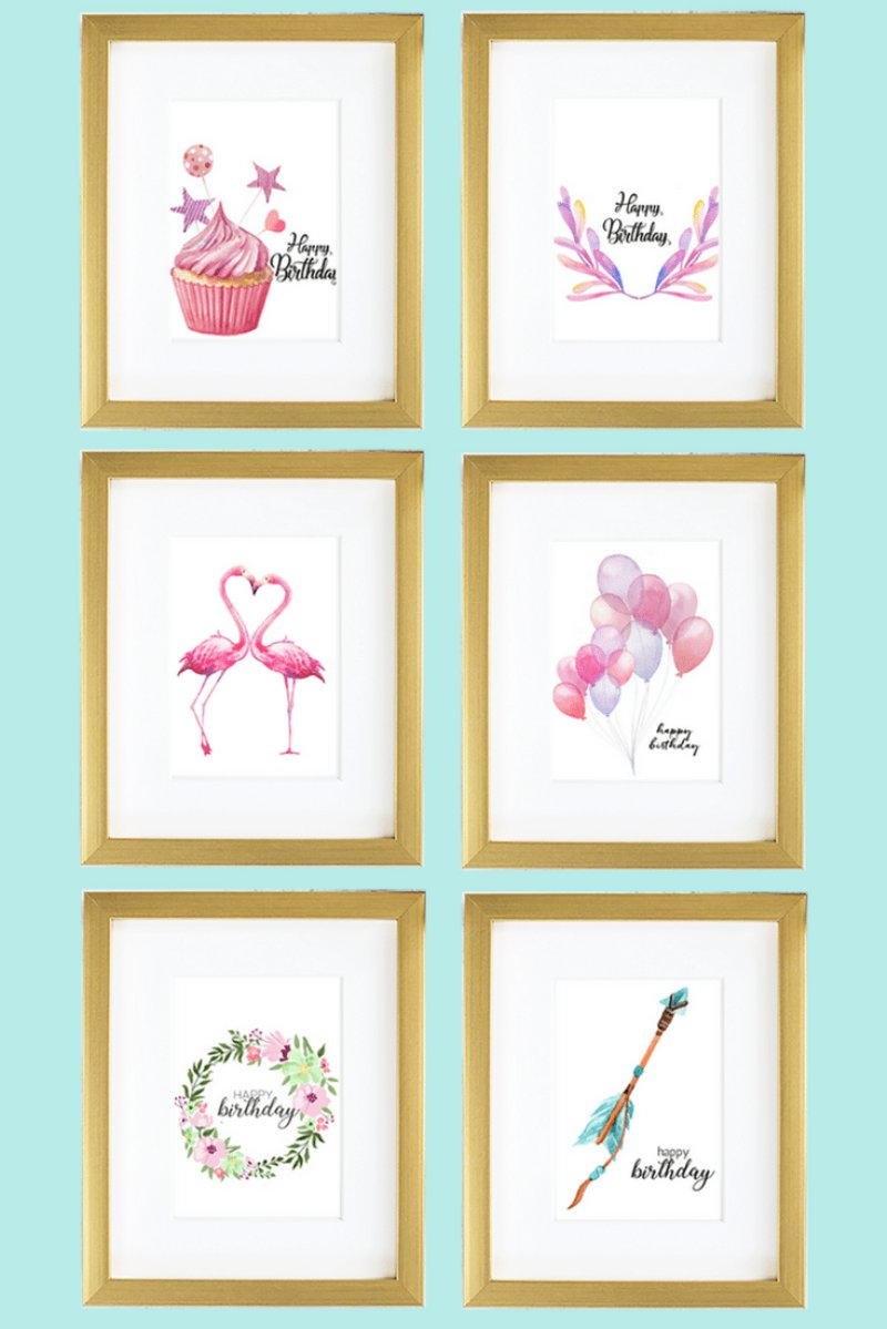 Free printable watercolor birthday cards via BirdsParty.com @birdsparty