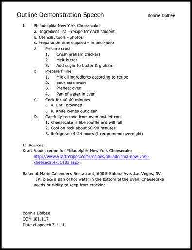 Resume Informative Speech Outline Template. sample demonstrations ...
