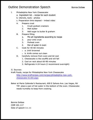 Communication Professor Sample Demonstrations Speech Thumbnail - speech outline example