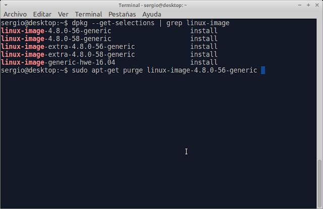 eliminar kernel antiguos xubuntu 16.04