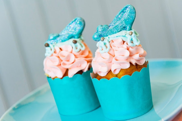 "So This Is Love: A ""Cinderella"" Anniversary Tea Party, Cinderella Slipper Cupcake"