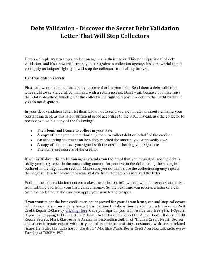 Debt Validation Letter After 30 Days