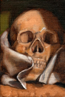 Oil painting of a plastic skull partially wrapped in a tea towel.