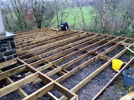 Timber decking frame construction