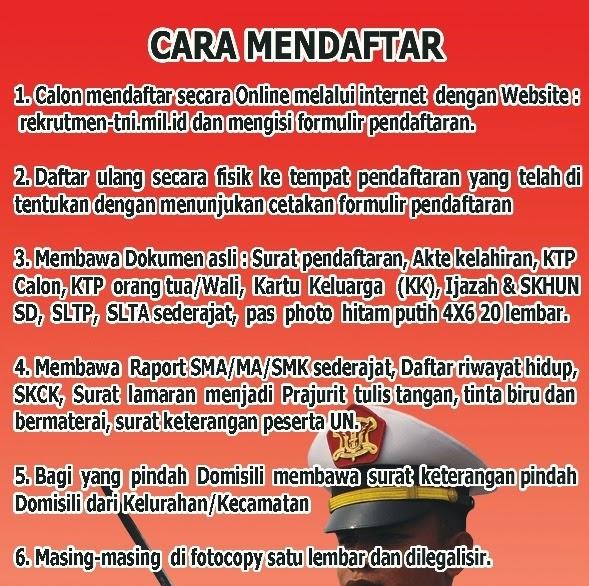 Penerimaan Cara dan Syarat Pendaftaran Taruna TNI 2015