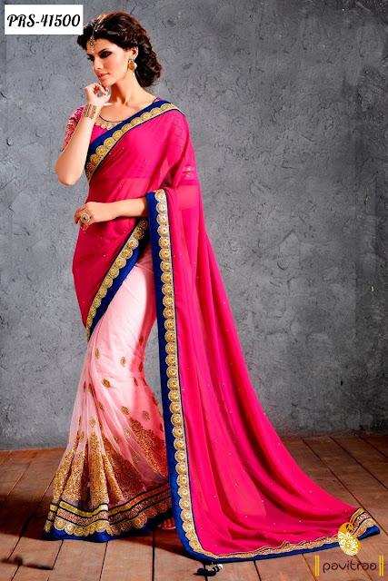 Karva Chauth special light pink net designer saree online shopping at low price