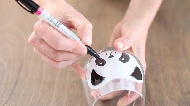 panda resmi ile cam bardak