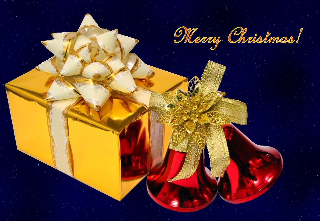 Golden Gift Box With Christmas Bells Free Wallpapers