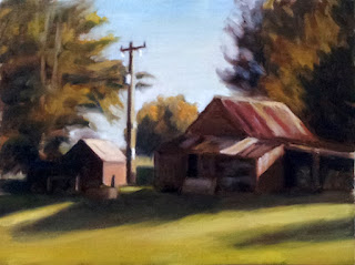 Oil painting of two dilapidated farm buildings and a telephone pole bounded by cypress trees.