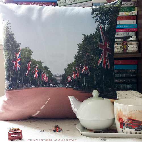 CanvasPop photo pillow depicting the Mall and Union Jack flags in London, England
