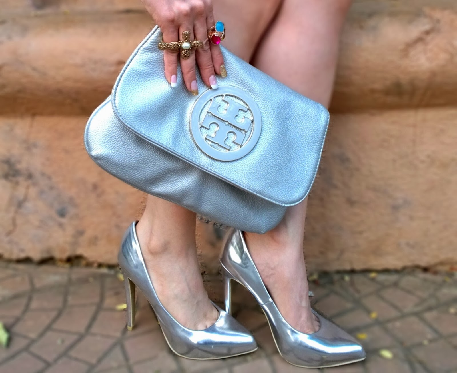 Silver Tory Burch Clutch & Silver Forever21 Pumps