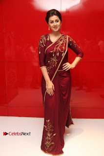 South Indian Actress Nikki Galrani Stills in Red Designer Saree at Maragadha Naanayam Tamil Movie Audio Launch  0019.jpg
