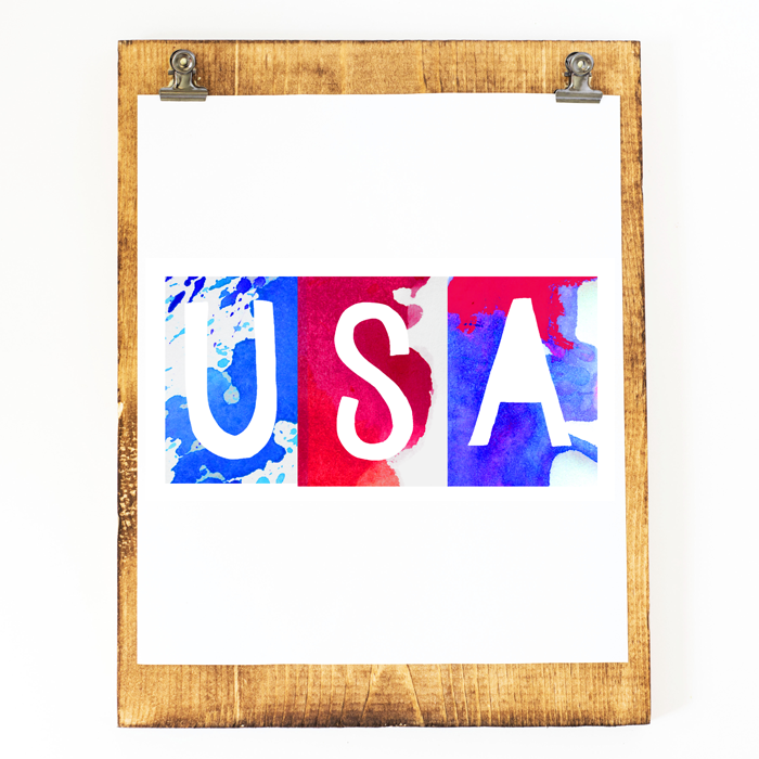 "These SIX 8x10"" Patriotic Printables are made up of fun watercolor letters and scream summertime! Party like it's 1776, y'all!"
