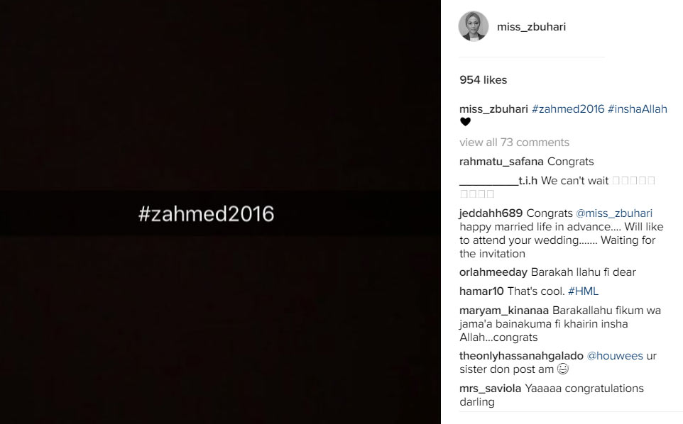 Finally, Zahra Buhari confirms she's getting married to Ahmed Indimi
