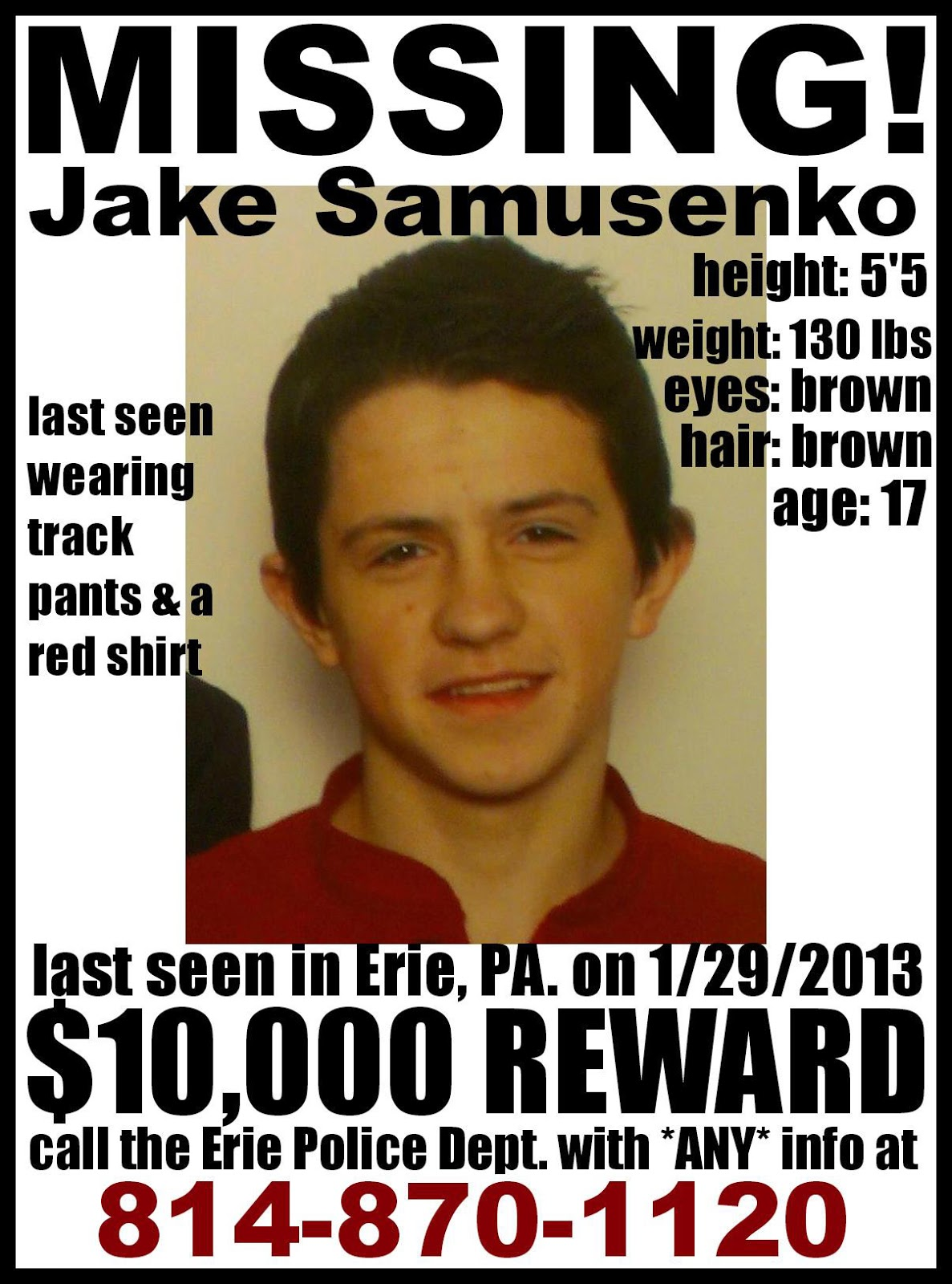 Missing 17 Year Old Girl Believed To Be In Eureka: Killing Killers: MISSING PERSON REWARD: Jake Samusenko