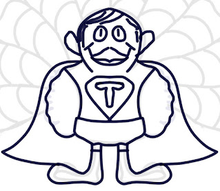 Student drawing of a turkey disguised as a super hero