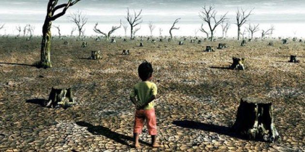 Ilustración niño frente a paisaje desolador