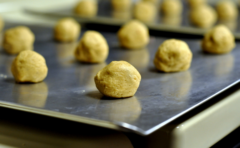 Dough Balls for Fluffernutter Thumbprint Cookies - Photo by Taste As You Go