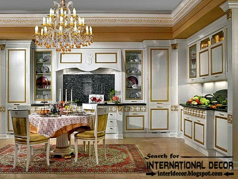 classic English style in the interior, English kitchen classic cabinets and dining sets
