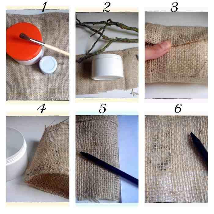 paso a paso gráfiico del proceso para envolver el tarro y forrarlo