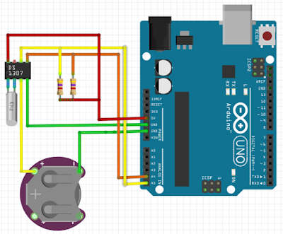 DS1307 Arduino Uno Connection Diagram