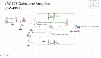 LM1875 Power Amplifier Rounded PCB schematic