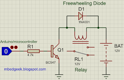 Connecting relay to a microcontroller using a transistor