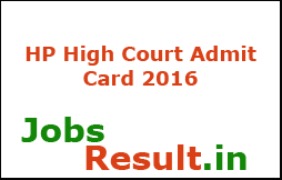 HP High Court Admit Card 2016