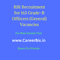 RBI Recruitment for 163 Grade-B Offiicers (General) Vacancies