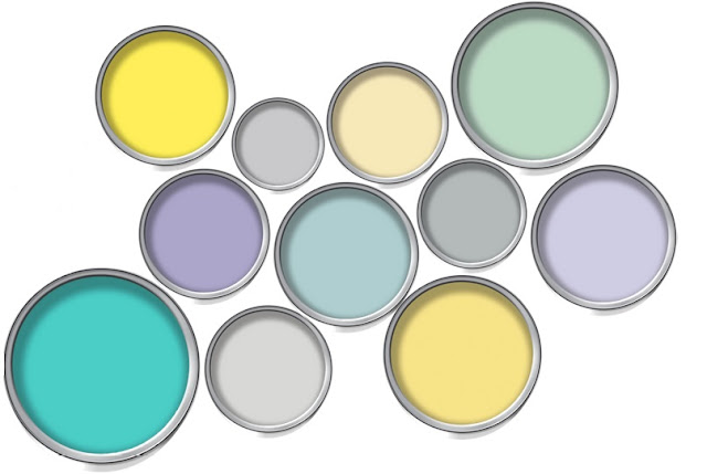 A nursery colour paint palette