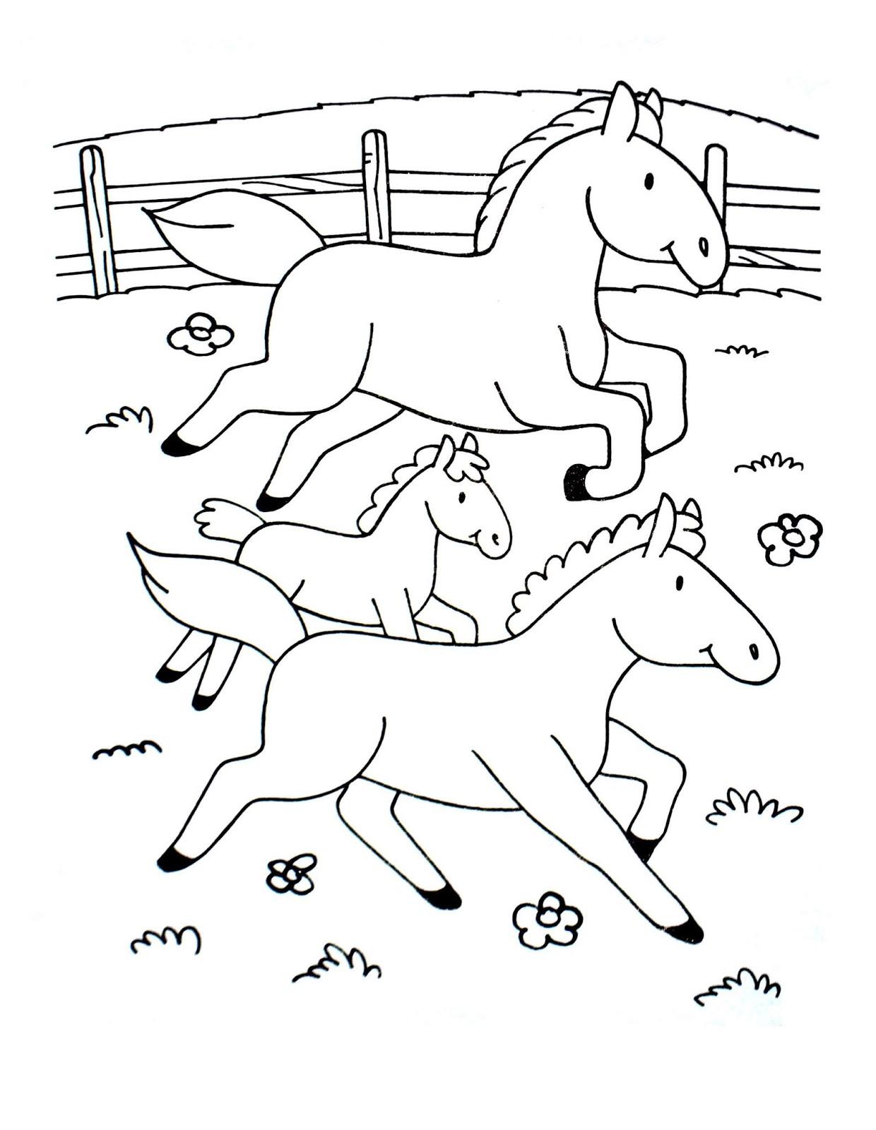 Tranh tô màu ba chú ngựa vẽ đơn giản