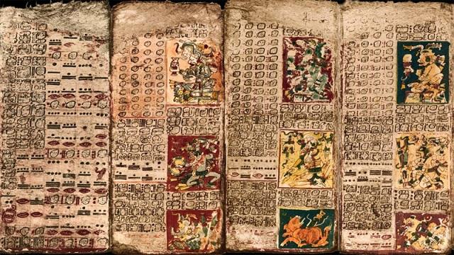 Préface du Tableau de Vénus du Codex de Dresde; le premier panneau à gauche et les trois premières pages du tableau.