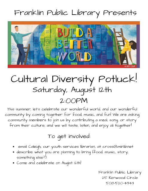 Cultural Diversity Potluck, Saturday, August 12, 2:00 - 4:00 PM