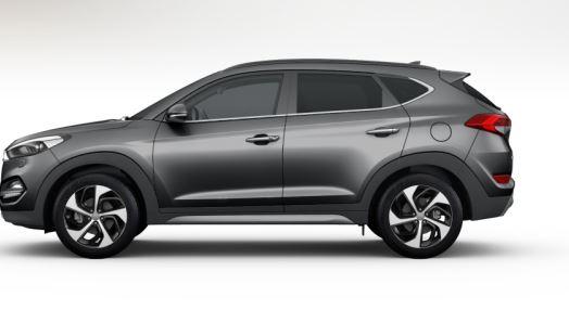 colori Nuova Hyundai Tucson 2016 Grigio Scuro - Thunder Grey profilo laterale di lato